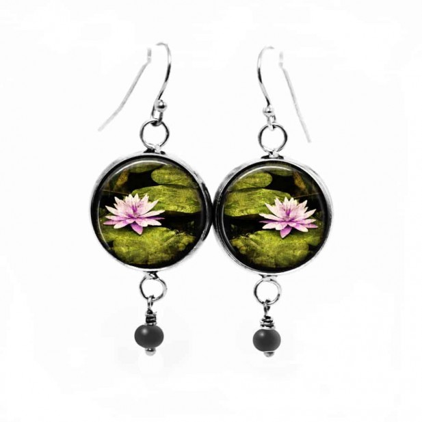 Waterlily themed dangle earrings with matching bead in tender pink and moss green