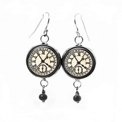 Clock-face steampunk themed dangle earrings in black and white