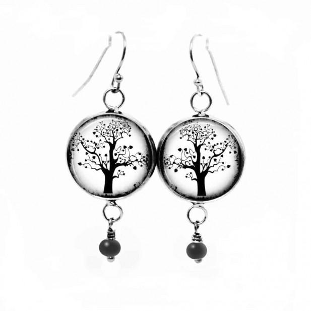 Boucles d'oreilles fantaisie pendantes avec le thème de l'Arbre de la vie en noir et blanc