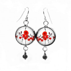 Red poppies themed dangle earrings