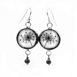 Dangle earrings with a black and white Queen Anne's lace flower