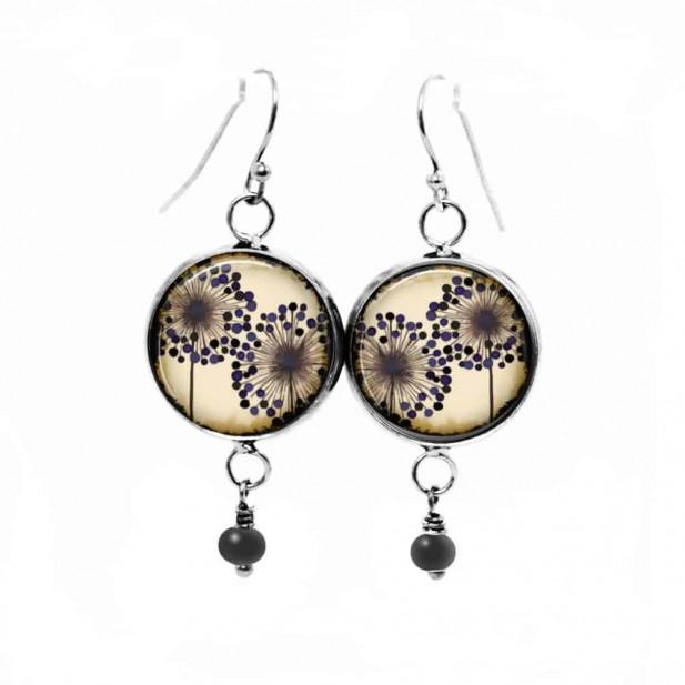 Boucles d'oreilles fantaisie pendantes avec le thème de fleurs d'agapanthes doubles