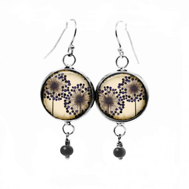 Dangle earrings with a double agapanthus flower theme