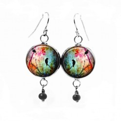 Glass cabochon dangle earrings with birds on the branch theme in multicolor