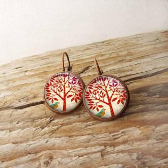 Boucles d'oreilles dormeuses thème arbre de la vie rouge