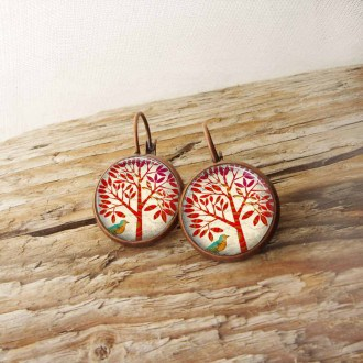 Boucles d'oreilles format dormeuses thème arbre rouge
