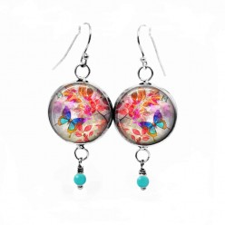 "Dangle earrings with ""Summertime"" turquoise butterfly theme and red leaves"