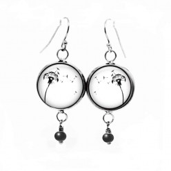 Dangle earrings with black and white dandelion theme