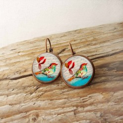 French wire earrings with bird and autumn leaf theme
