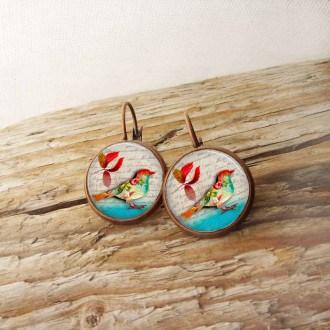 Boucles d'oreilles format dormeuses thème oiseaux d'automne
