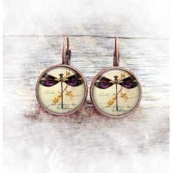 Boucles d'oreilles fantaisie format dormeuses thème libellule.