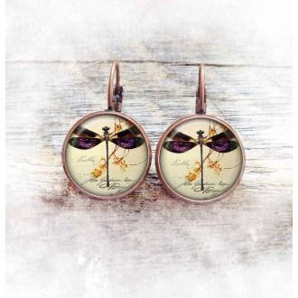 Boucles d'oreilles fantaisie format dormeuses thème vintage libellule -cuivre