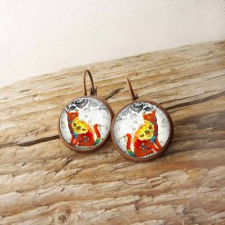 French wire earrings with red floral cat theme
