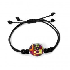 Double cross over maedup knot waxed nylon cord bracelet with interchangeable clip on buttons - black