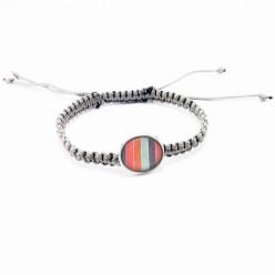 Bracelet tissé avec cabochons interchangeables ou seul - gris