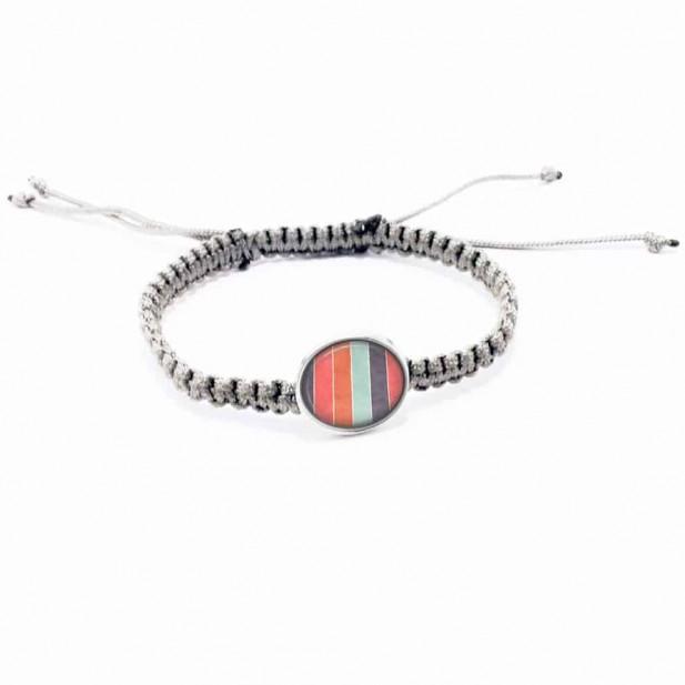 Bracelet personnalisable tissé avec boutons en gris