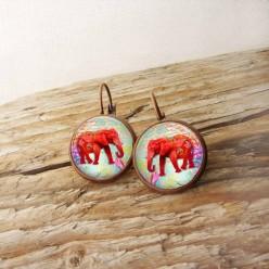 Boucles d'oreilles format dormeuses thème Éléphant