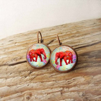 French wire earrings with hot pink elephant theme