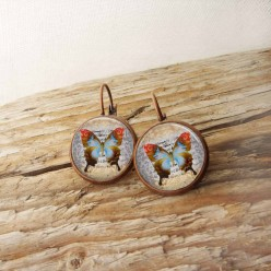 French wire earrings with vintage butterfly theme
