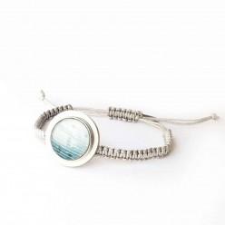 Bracelet interchangeable avec plateau couleur argenté