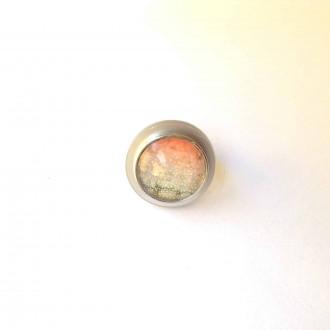 Bague réglable en acier inoxydable avec cabochon interchangeable avec plateau argenté.
