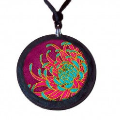 Slate necklace with turquoise and Indian pink Chrysanthemum flower theme