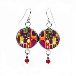 Boucles d'oreilles fantaisie pendantes avec le thème multicolore 'Klimt'