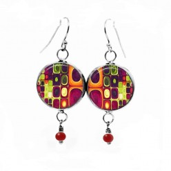 Dangle earrings with multicolor 'Klimt' theme