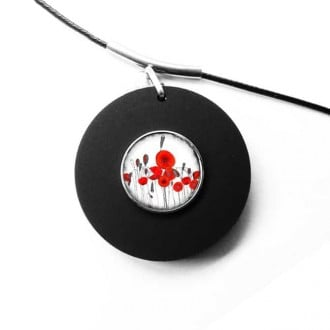 Collier interchangeable pour cabochon / bouton clipsable en noir mat: collier seul