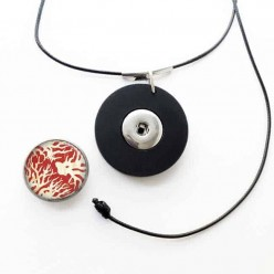 Customizable necklace for cabochon / snap button in Matt Black: only necklace