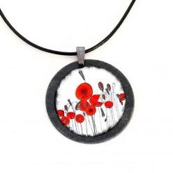 """Halskette aus Schiefer mit dem Thema """"Poppies"""""""