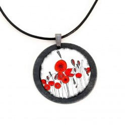 Poppy themed slate necklace