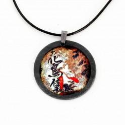 """Schiefer-Thema """"Asien Blätter"""" japanische Kalligraphie Halskette"""