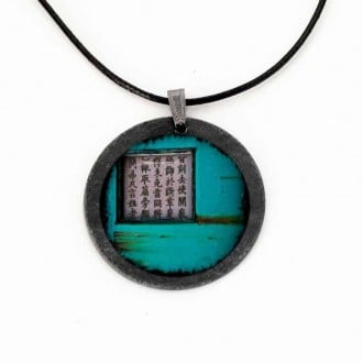 Turquoise Asia Grunge themed slate necklace
