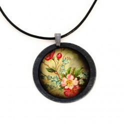 """Vintage Flowers"" themed slate necklace"