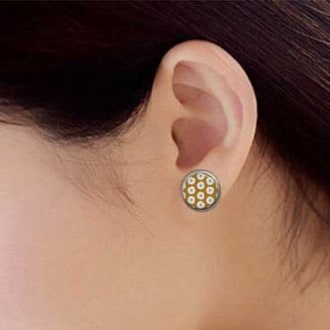 stud earrings featuring a white flower theme on a mustard background