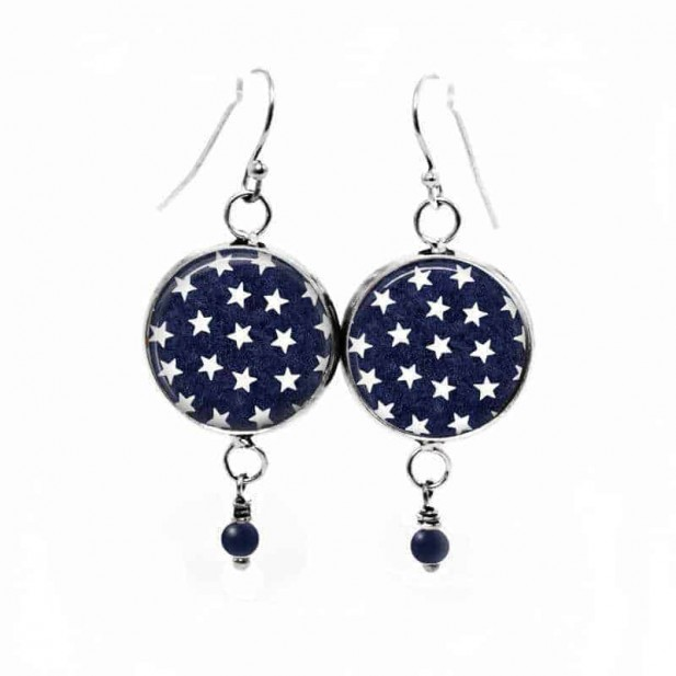 """Dangle earrings with a white stars pattern on a navy """"blue jeans"""" background"""