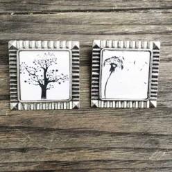 broche thème Pissenlit noir et blanc
