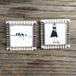 Broche carée Oiseaux sur la branche en noir et blanc