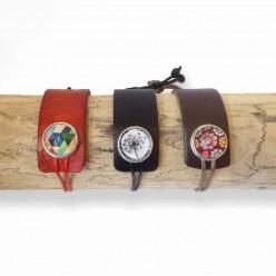 Asymmetrische anpassbare Armband in Leder und Cord - schwarz oder braun