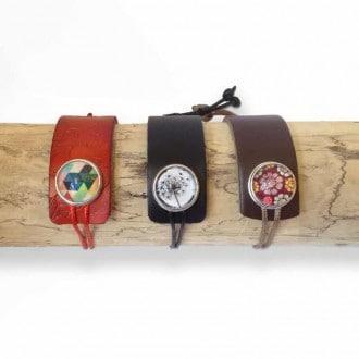 Bracelet personnalisable asymétrique en cuir et cordon - noir ou marron