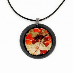 Slate necklace featuring a Herbarium theme with red leaves