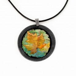 Slate necklace featuring a Herbarium theme with a yellow leaf