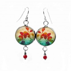 Dangle earrings with a herbarium red leaves theme and emerald background