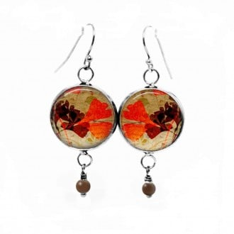 Dangle earrings with a herbarium red and brown ginkgo leaf theme