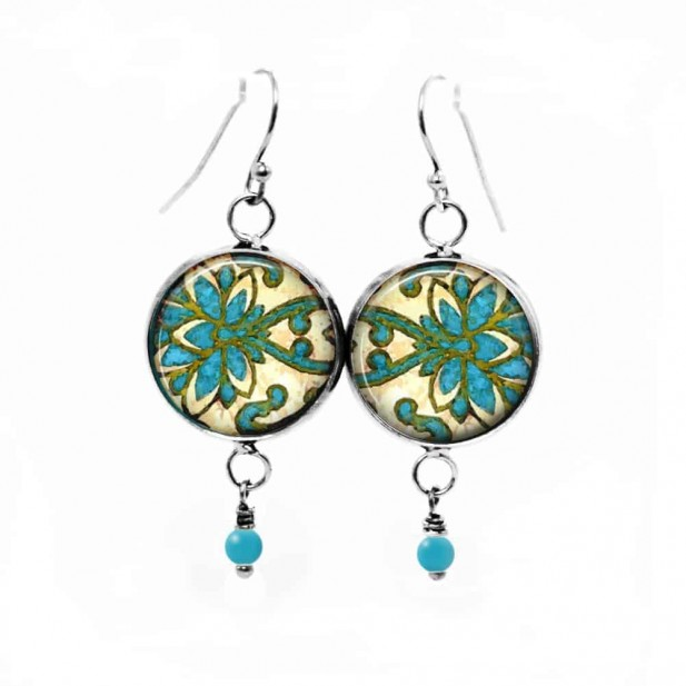 Dangle earrings with a damask theme in green and turquoise