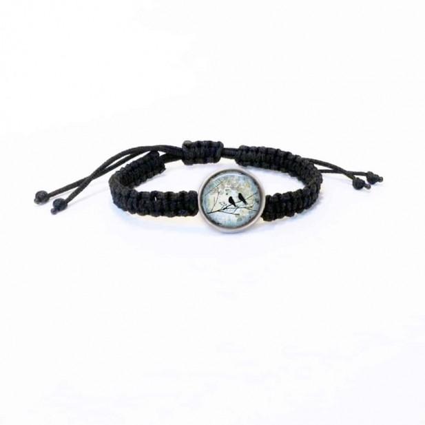 Bracelet personalisable avec tressage macramé en noir