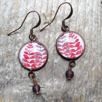 Boucles d'oreilles pendantes rondes collection Mabon Feuilles Roses et mauves