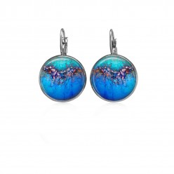 Lever-back earrings with an organic blue design in deep blue and pinks