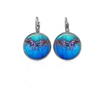 Boucles d'oreilles dormeuses Litha motif organique bleu